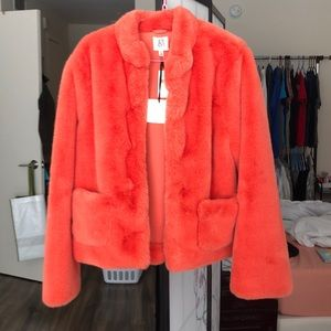 DRA/Anthropologie orange fur jacket TAGS ATTACHED